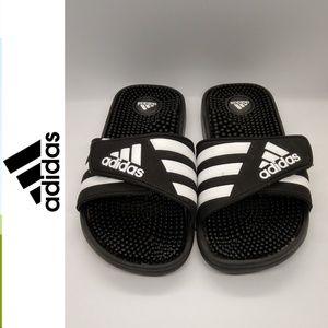 Adidas Slides Athletic Black Flip Flops Size 7